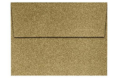 LUXPaper A2 招待状用封筒 90ポンド ゴールド スパークル 4 1/4 x 5 1/2 カード用 印刷可能な四角いフラップ封筒 招待状用 剥がして押すだけ 50枚パック 封筒サイズ 4 3/8 x 5 3/4 (ゴールド)