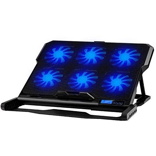 Soporte enfriador de 6ventiladores para PC portátil, notebook, Consoles... Compatible periférico de 9a 17,–luz LED azules, ventilación y altura ajustable, 2puertos USB...