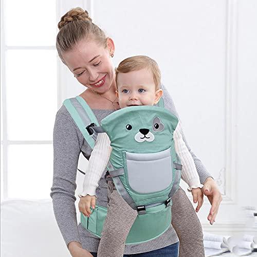 BAIBY Mochila Portabebé Portador Asiento de Cinturón Ergonómico Multifuncional Cinturón Ajustable Multiposición Dorsal y Ventral para 3-36 Meses Bebés Algodón Puro Ligero y Transpirable