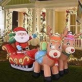 Trineo inflable de Navidad de 2,13 m / 7 pies con luces LED brillantes para decoración de patio iluminado, lindo y divertido, patio grande para exterior, interior, jardín, hogar, accesorios familiares