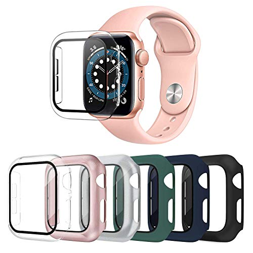 OMEE 6 Pack Apple Watch Case 44mm Series 6/5/4/SE with Tempered Glass Screen Protector, Ultra-Thin Hard PC Shockproof iWatch 44mm Accessories Bumper Full Protective Cover for Men/Women