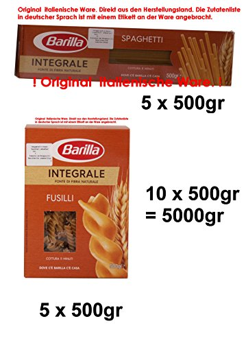 Barilla Integrale 5 x Fusilli 500gr 5 x Spaghetti 500gr Vollkorn