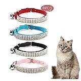 Kingkindshun 4pcs Collar para Gato de Terciopelo Suave Diseño de Bling Diamante con Campanas 11 Pulgadas para Gatos y Perros Pequeños