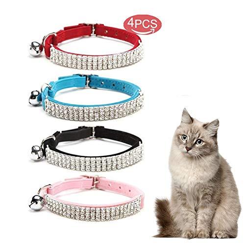 Kingkindsun -4PCS Collare per Gatti in Morbido Velluto, Design con Diamanti Bling con Campane, 11 Pollici per Gatti e Cani di Piccola Taglia.