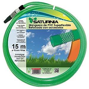 SATURNIA 8070920 Manguera Latex Reforzado 15 mm. – 5/8″ Rollo 15 Metros Con Accesorios