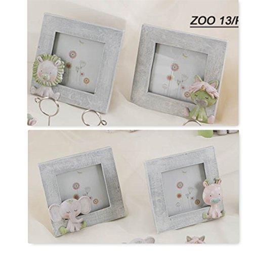 4 PZ Cornice Portafoto piccola resina con animali dello zoo ROSA