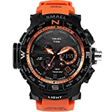 Psalmtrading SMAEL Men's/Women's Sports Analog Quartz Watch Dual Display Waterproof Digital Watches with LED Backlight 1531 (Orange)