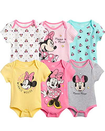 Disney Baby Girls 6 Piece Short Sleeve Bodysuits – Minnie, Ariel, Pooh (Newborn/Infant), Size 24 Months, Minnie Grey/Pink