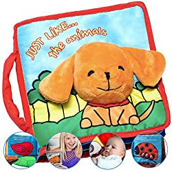 😃 PEEK-A-BOO FLAP, MIRROR, SOUNDS, TOUCH & FEEL: Developed by experts in the US. Our handmade cloth books have a stimulating feature on every page. Bright colours for your baby's attention. Perfect for newborns to toddlers. It gives your child or gra...