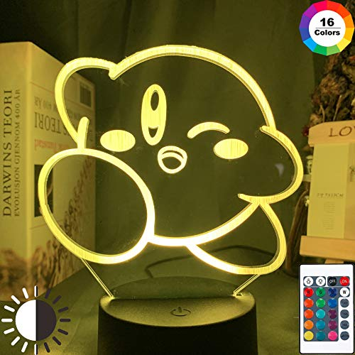KangYD Cartoon Nettes Kirby Baby 3D Nachtlicht, LED Optische Täuschungslampe, C - Berühren Sie Crack White (7 Farben), Liebhaber Geschenk, Visuelle Lampe, WeihnachtsgeschenkSchlaflampe