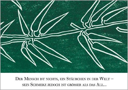 Unbekannt Im5er Set: Trauerkarte: Disteln in hoffendem Grün mit Beileidsspruch • Beileids Karten Set im Trauerfall zum Kondolieren im Sterbefall, nach Beerdigung