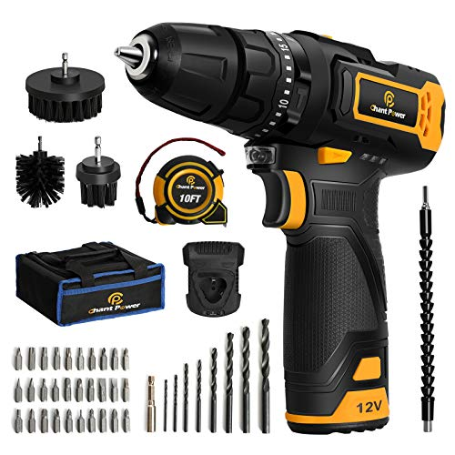 Cordless Drill, 12V Impact Drill Set with Dual-Speed, 21+1+1 Torque Settings, 1H Fast Charge, 3/8'' Keyless Chuck, 41pcs Accessories Bits with Tool Bag, C P CHANTPOWER