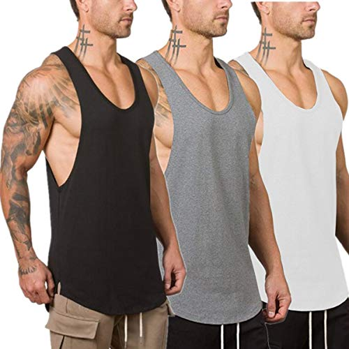 Muscle Killer 3-Pack Men's Muscle Gym Workout Stringer Tank Tops Bodybuilding Fitness T-Shirts (X-Large, Black+Gray+White)
