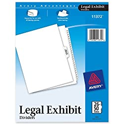 Legal Exhibit Dividers 8 5 x11 26-50 Side Index Tab White AVE11372