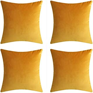 "Andreannie Set of 4 Velvet Super Soft Comfortable Solid Decorative Throw Pillow Cover Cushion Case for Sofa Living Room 18 inches,20 inches Square (Yellow, 18""x18"")"