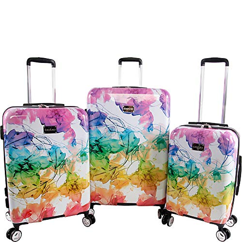 BEBE Women's Megan 3pc Suitcase Set with Spinner Wheels, Rainbow, One Size