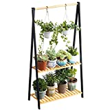 Bamboo 2-Tier Hanging Plant Stand Planter Shelves Flower Pot Organizer Rack Multiple Flower Pot Display Holder Shelf Indoor Outdoor Heavy Duty Planter Shelving Unit