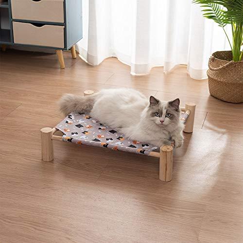 weichuang Cama para mascotas para gatos y gatos, saco de dormir extraíble, hamaca, camas para tumbona de madera para gatos, casa de invierno, cálida cama para perros pequeños (color: gato gris)