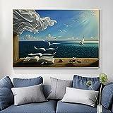 Salvador Dali pintura The Waves Book Velero pared sobre lienzo artístico Póster e impresiones de imágenes para la sala de estar 80x120cm (31.5x47.2in) sin marco