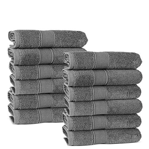Chakir Turkish Linens LongStaple Turkish Cotton Washcloth Set of 12 Gray