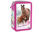 Pferd Pony Einhorn Federmappe 3-Fach Dreistöckige Federtasche Federmäppchen.Inklusive-Sticker-von-Kids4shop