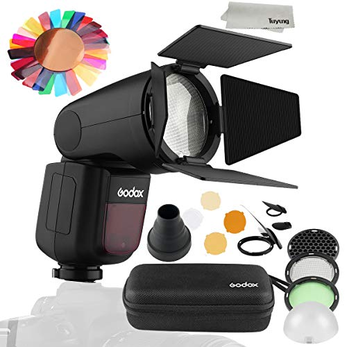 Godox V1S 76Ws 2.4G TTL Camera Flash with AK-R1 Pocket Flash Light Accessories Kit for Sony Camera,5600±200k, 480 Full Power Shots, 1.5 sec. Recycle Time,Rechargeable 7.2V 2600mAh Li-ion Battery -  F-V1S+AKR1