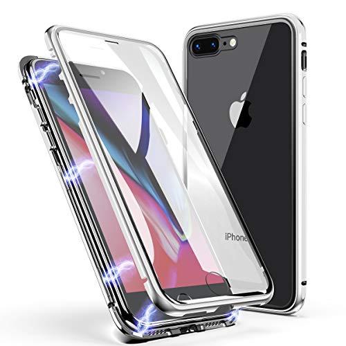 Funda para iPhone 8 Plus/7 Plus, ZHIKE Estuche de Adsorción Magnético Frente y Parte Posterior de Vidrio Templado Cobertura de Pantalla Completa Diseño para iPhone 8 Plus/7 Plus (Blanco Claro)