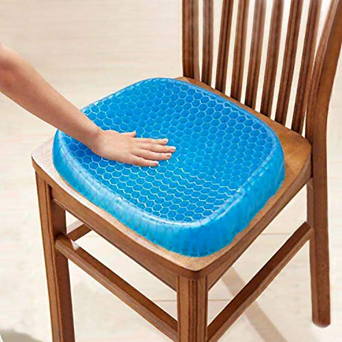 HMSR Gel Seat Cushion Breathable Cooling Pad For Car, Office Chair, Wheelchair, Pressure Sore Relief - Gel Comfort, Prevents Sweaty Bottom, Durable, Portable Seat Cushion With Washable Cover