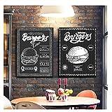 nr Burger Menü Essen Skizze Leinwand Poster und Drucke Schwarz Weiß Bilder Restaurant Hamburger Shop Wandkunst Dekor Leinwand Gemälde-50x70cmx2 Kein Rahmen