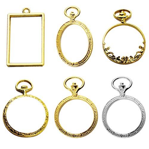 ZJL220 Juego de 6 piezas con marco de metal para reloj de bolsillo, colgante de bisel con montura de resina UV, collar y pendientes