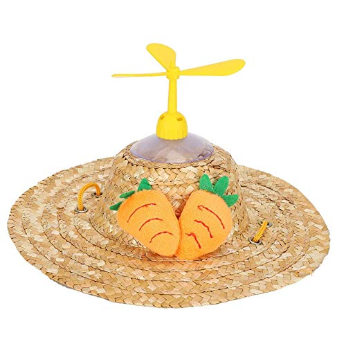 RongXin Perro Gato Sombrero Estilo Hawaiano Sombrero de Paja Sombrero Mascota Hebilla Ajustable Disfraz Mascota Sombreros Vestir (S,Carrot)