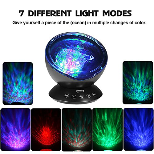 Newest Generation Remote Control Ocean Wave Projector 12 LEDs /& 7 Color Changing Modes Night Light and Built-in Mini Music Player for Living Room and Bedroom totobay
