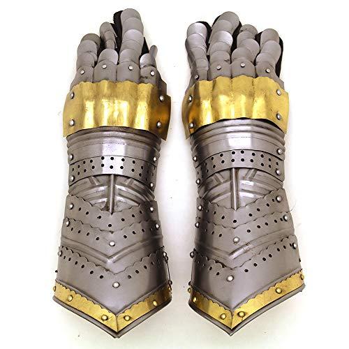 Guantes de Metal Estilo Caballero gótico de Guerrero Medieval, Guantes de Armadura Totalmente funcionales, Dorado