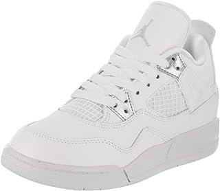 best sneakers 45060 3525a Jordan Nike Kids 4 Retro BP White Metallic Silver Basketball Shoe 2.5 Kids  US