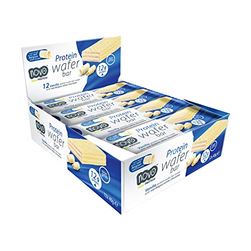 Novo Nutrition | Protein Wafer Bar | Vanilla Flavour | Healthy Crispy Wafer Snack with High Protein and Real Belgian White Chocolate | Suitable for Vegetarians | Pack of 12 x 40g