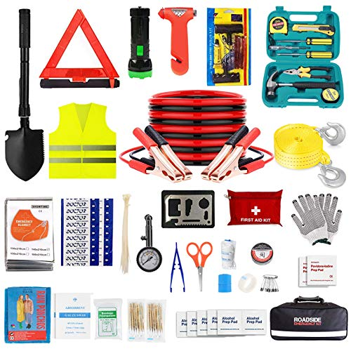 ISWEES Car Emergency Kit with Jumper Cable,Auto Roadside Assistance Tool Bag for Truck Vehicle LED Flashlight,Winter Traveler Safety Emergency Kit with Blanket Shovel Triangle (13 x 8 x 4 inches)