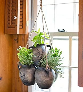 Hanging Herb Garden Clay Planter Kit Includes Soil and 5 Popular Herbs