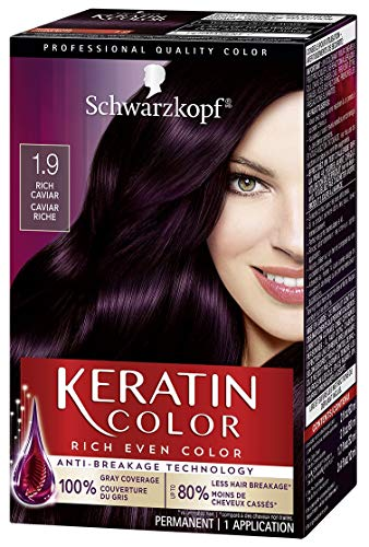 Schwarzkopf Keratin Color Permanent Hair Color Cream, 1.9 Rich Caviar(Packaging May Vary), Pack of 1