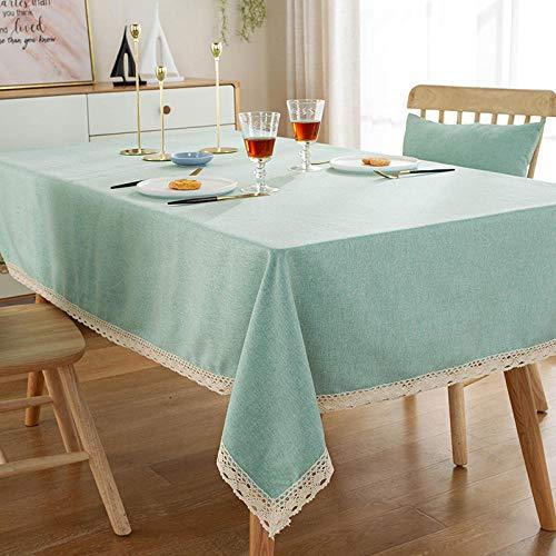 Yinaa Mantel de Mesa Rectangular para Cocina Resistente Al Desgaste de Lino de Algodón Simple Uso Interior y Al Aire para Jardín Habitaciones Verde 140 × 180cm