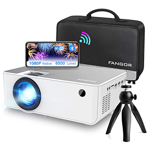 Proiettore WiFi FANGOR Videoproiettore 1080P Nativo HD Proiettore wireless Home Theater con Bluetooth, 6500 Lumens, 230', Compatibile con TV Stick, HDMI, VGA, USB, Laptop, iPhone / Android
