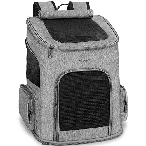 Dog Backpack Carrier, Dog Carrier Backpack for Small Dogs Cats, Ventilated Design Breathable Pet Carrier Backpack Cat Bag for Travel Hiking Camping Outdoor Use, Grey