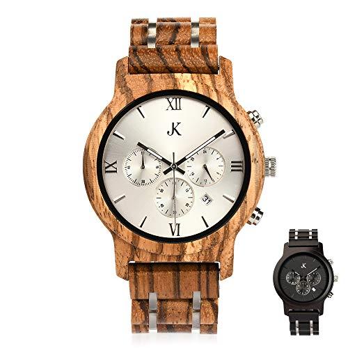 Kim Johanson Herren Holz-Edelstahl Armbanduhr *Air Force* in Hellbraun & Dunkelbraun Chronograph mit Einem Gliederarmband Handgefertigt Quarz Analog Uhr inkl. Geschenkbox (Hellbraun)