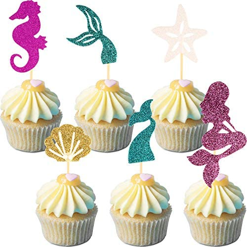 60 Pieces Mermaid Theme Glitter Cupcake Toppers Cake Picks Include Mermaid Fishtail Seahorse product image