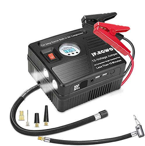 JF.EGWO 3000Amp Car Jump Starter with Air Compressor, 150PSI Tire Inflator with Digital Screen Pressure Gauge, 24000mAh 12V Auto Battery Booster (9.0L Gas/ 8.5LDiesel Engine), 2 USB Port 2 Light