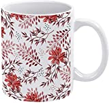 Taza de café con diseño floral de hojas tropicales otoñales