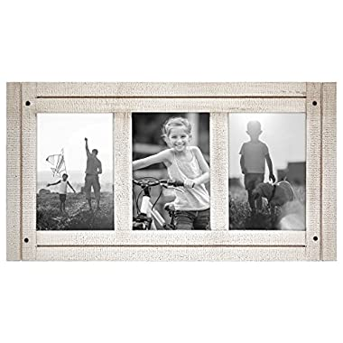 Americanflat Aspen White Collage Distressed Wood Frame - Made to Display Three 4x6 Photos - White - Ready to Hang on Wall or Stand on Tabletop