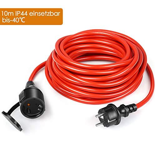 SIMBR Schuko Verlängerungskabel 10m für den Rasenmäher/Innenbereich/Außenbereich IP44 (einsetzbar -40℃~70℃,öl- und UV-beständig) Rot