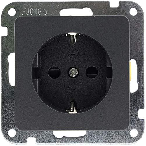 MILOS Steckdose Unterputz 230V/ 16A Schutzkontakt Klemmanschluss UP Montage mit erhöhtem Berührungsschutz Anthrazit