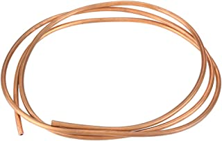 Akozon Copper Round Tubing, 2m T2 Soft Copper Coil Tube Pipe ID 4mm OD 6mm Thickness 1mm for Refrigeration