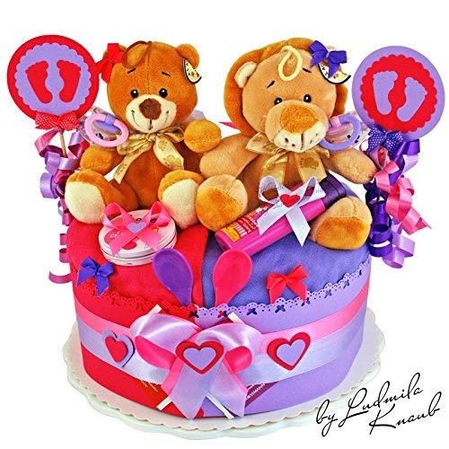 MomsStory - Windeltorte Zwillinge | Teddy Bär & Löwe | Geschenk zur Geburt, Taufe, Babyshower | 1 Stöckig (Lila/Pink)